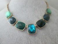Liz Claiborne Gold Tone Faceted Green Acrylic Rhinestone Link Costume Necklace