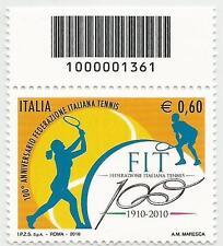 REPUBBLICA ITALIANA - 2010 Tennis 0,60 con codice a barre 1361