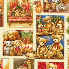 Fat Quarter Bear Hugs 100% Cotton Quilting Fabric Small Cute Teddy Bear Blocks