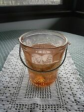 Depression Pink Rose Glass Ice Bucket Gold Trim 1928 Patent