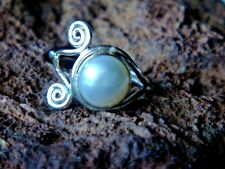 STERLING SILVER 20mm.RING with a FRESHWATER PEARL in an UNUSUAL SETTING £18.95
