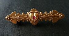Antique 15ct Gold & Ruby Sweetheart Brooch. 3.26 Gram