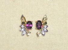 SOLID     14K Gold    RUBY    Diamond     Earrings