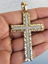 10k Yellow Gold Diamond-cut Cross Pendant Charm