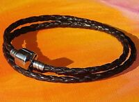 Ladies Brown double-wrap leather & steel European charm bracelet by Lyme Bay Art