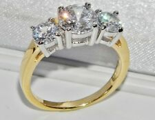 BEAUTIFUL 9CT YELLOW GOLD & SILVER 2.00 CARAT 3 STONE ENGAGEMENT RING - size S