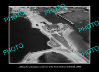OLD LARGE HISTORIC PHOTO LILLIPUT DORSET ENGLAND, AERIAL VIEW YACHT CLUB c1934 1