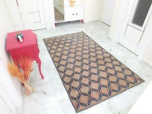 Antique Rug 4.2x7.1,Turkish Rug,Old Floor Mat,Handmade Rug,Oushak Rug,Boho Rug.
