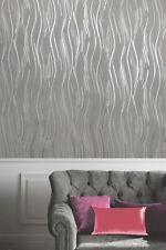 Silver Grey Black Glitter Wallpaper Modern Textured Waves Vinyl Glitter Stripes