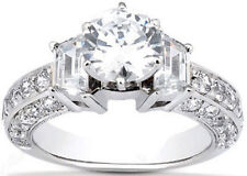 2.33 ct total Round & Trapezoid DIAMOND Engagement Wedding 14k White Gold Ring