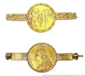 Antique 1887-1893 British Gold Half Sovereign Victoria Jubilee Love Token Pin