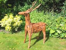 Wood Effect Standing Reindeer Garden Christmas Ornament Outdoor Deer Xmas Gift