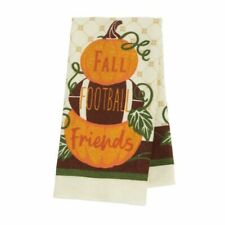 """2 Kitchen Towels Stacked Pumpkins And Football """"Fall Football Friends"""" 14 X24"""""""
