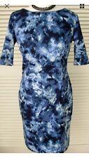 BNWT Papaya Dress Blue Pattern Size 14 Short Sleeves Zip & Slit At Back Stretch