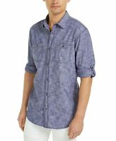 INC Mens Shirt Blue Size Medium M Button Down Chambray Dual-Pocket $49 #367