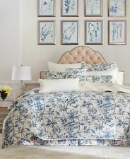 RARE SOLD OUT HOTEL CLASSIC BOTANICAL TOILE QUEEN DUVET COVER BLUE FLOWER BIRD