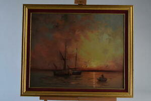 Original Oil Painting On Board Sailing Boat At Sunset Signed L Alexis Framed