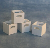 1/12 Scale Dolls House Emporium Modern Set of 4 White Storage Boxes Cubes 9311