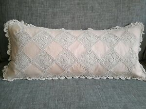 Handmade  Breakfast Lumbar Cushion Lace Crochet  - NEW Aus Made