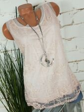 NEU ITALY BOHEMIAN TWO FACE LONG TOP SHIRT NETZ & STICKEREI ROSA 36-40