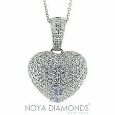3.00 CARAT F VS2 PUFFY HEART SHAPED DIAMOND PENDANT SET IN 18K WHITE GOLD