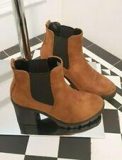 Top Shop Tan Brown Suede Rock Street  Ankle Block  Heeled  Boots 4