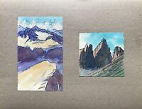Georg Schott 1906 Montagne Berge Rocher Alpes 2 Aquarelle