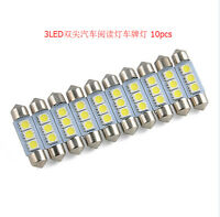 36MM 10X White 3 LED 5050 SMD Festoon Dome Car Light Interior Lamp Bulb 12V