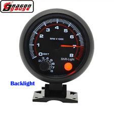 "3.75"" Auto Tachometer Gauge White Inter Shift light 0-8000 RPM Universal B4K0"