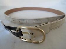 womens Calvin Klein bone patent leather~natural material~gold belt, size m, NWT