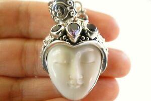 Purple Amethyst Balinese Goddess Face Close Eye 925 Sterling Silver Pendant