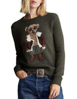 Polo Ralph Lauren Aviator Bear Knit Crewneck Sweater Olive Green NWT Women's M