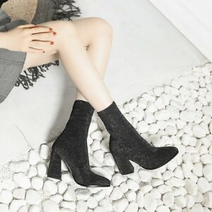 Women Round Toe Block Heels Slip On Ankle Boots Suede Stretchy  Shoes Plus Size