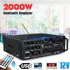 EQ 2000W 2CH bluetooth Power Amplifier Car Home HiFi Stereo LED Display Karaok