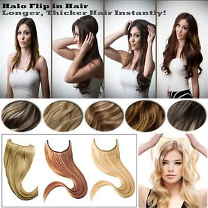 One Piece Halo Hair Wire Flip In Hair Wrap 100% Real Remy Human Hair Extensions