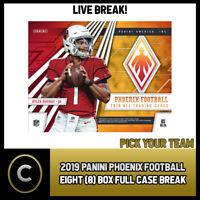2019 PANINI PHOENIX FOOTBALL 8 BOX (CASE) BREAK #F342 - PICK YOUR TEAM