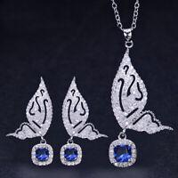 CWWZircons 925 Silver CZ Crystal Earrings Necklace Sets Butterfly Shape Jewelry