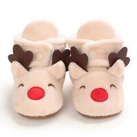 Baby Cozy Fleece Booties Beige Christmas Reindeer Newborn Shoes Toddler Footwear