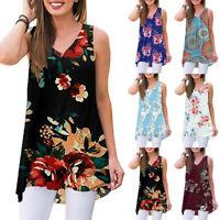 Women Vintage Printed Tunic Tops Sleeveless Loose Tops Blouse Shirt T-Shirt US