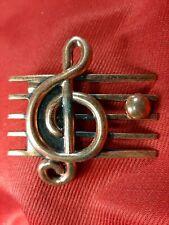 Vintage RENOIR MUSIC NOTE TREBLE CLEF BROOCH PIN Copper TS1389