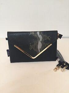 Black Gold Silver Envelope Clutch Detachable Shoulder Wrist Strap Evening Bag