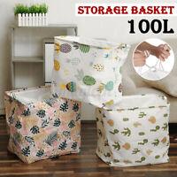 100L Large Cotton Hemp Basket Foldable Storage Bag Tubs Basket Laundry Toy Home