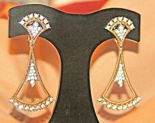 RARE VINTAGE MID-CENTURY PANETTA SIGNED DANGLE DROP RHINESTONE EARRINGS