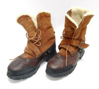 POLO by RALPH LAUREN BROWN LEATHER SHEARLING LINED WINTER BOOTS MENS SIZE 8DUS