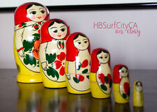 BestPysanky Set of 6 Traditional Semenov Matryoshka Wooden Russian Nesting Dolls