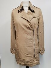 Y6 WOMENS SUPERDRY THE DRAPED TRENCH BEIGE COTTON TRENCHCOAT JACKET S 8 EU 34
