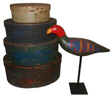 AAFA Early 1900s Antique Folk Art Primitive Parrot Bird Paint Wood Carved