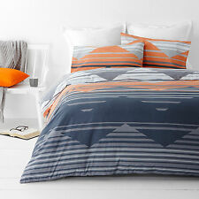 New In 2 Linen Chevron Zig Zag Orange  3 Pce Queen Size Quilt / Doona Cover Set
