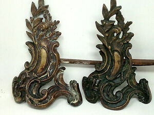 Pair of 19th Century Brass and Cast Iron French Andirons Fire Dogs