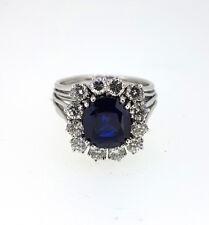 MAGNIFICENT Retro Vintage 1950s 4.50Ct Burma Sapphire Diamond Ring in Platinum